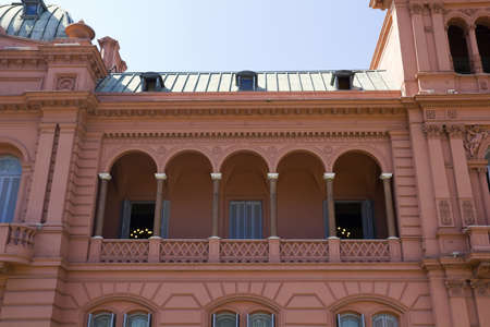 evita: Evita Perons balcony. Casa Rosada (Pink House) Presidential Palace of Argentina. May Square, Buenos Aires. Editorial