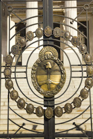 evita: Detail from argentina shield of the Congress. The National Congress in Buenos Aires, Argentina
