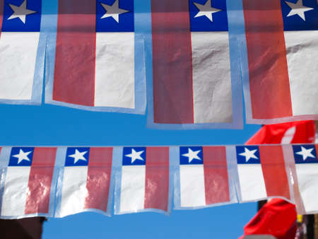 chilean flag: Celebration of national holidays in Chile. Small ornamental flags.