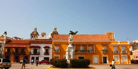 CARTAGENA- JAN 15  Car square on January 15, 2010 in Cartagena de Indias, Colombia  It is the most central plaza in the city, Spanish colonial architectural style, with the cathedral in the background  Editorial