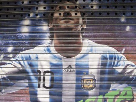 BARCELONA - NOV 13  Graffiti in honor Lionel Messi on November 18, 2012 in Barcelona, Spain  Tribute to the best player in the world, with the Argentina team shirt