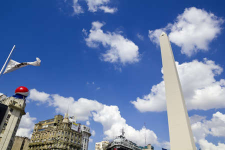 obelisc: BUENOS AIRES - SEP 12  Obelisco on September 12, 2012 in Buenos Aires  Located at the junction of Avenida 9 de Julio and Corrientes Street  Its name honors Argentina