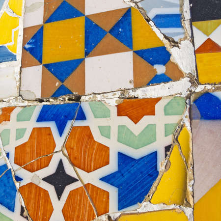 Mosaic of Park Guell designed by Antonio Gaudi in Barcelona   photo