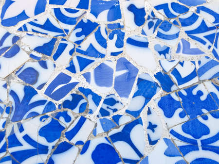 Mosaic of Park Guell designed by Antonio Gaudi in Barcelona   Stock Photo - 17208948