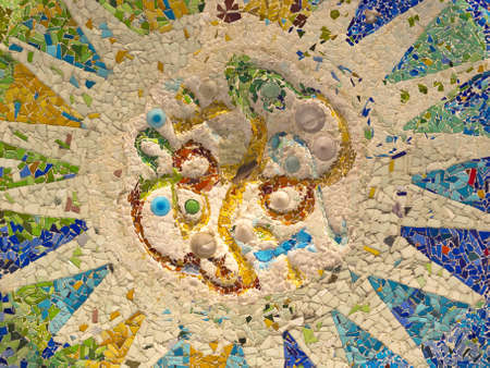 Ceiling with mosaic sun of Park Guell designed by Antonio Gaudi in Barcelona, Spain  A hundred columns Hall   photo