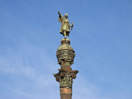christopher columbus: Monument of Christopher Columbus at end of La Rambla, Barcelona, Spain Stock Photo