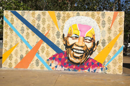african art: BARCELONA - OCT 24: Tribute to Nelson Mandela on Oct 24, 2012 in Barcelona, Spain. He was the first democratically elected South African president by universal suffrage