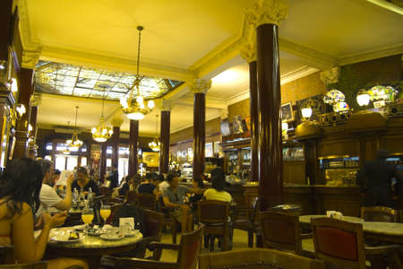 Interior of Cafe Tortoni on September 13, 2012  Located on Avenue of May, the Cafe Tortoni, with over 150 years of history, is the most famous of Buenos Aires, Argentina