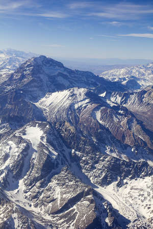 mendoza: Mount Aconcagua in Mendoza, Andes Mountain Range, border between Argentina and Chile Argentina  highest pick in America continent   Aerial photo  Stock Photo