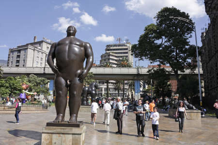 MEDELLIN, COLOMBIA - JAN 2  Botero square on January 2, 2010 in Medellin, Colombia  Launched in 2002, are displayed in the street 23 sculptures by Fernando Botero