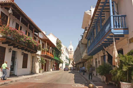 CARTAGENA- Jan 10  street of Walled City on January 10, 2012 in Cartagena, Colombia  Historic center, the  Walled City