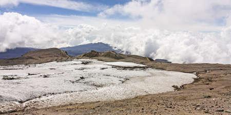 Glacier Volcano Nevado del Ruiz, in Los Nevados Parque Nacional Natural Due to climate change, the glacier is running  Of the 14 glaciers that had in the twentieth century in Colombia, today only 6