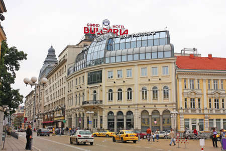 SOFIA � SEP 4: Tzar Osvoboditel blvd on September 4, 2010 in Sofia, Bulgaria. Is a historic avenue, paved with golden cobblestones, with the most important monuments: Parliament or Russian Church.