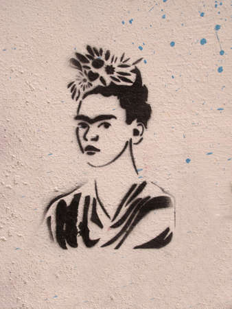MONTEVIDEO - SEP 25: Graffiti in honor Frida Kahlo on September 25, 2012 in Montevideo, Uruguay. Tribute to the Mexican painter, wife of muralist Diego Rivera.Homage to the painter Frida Kahlo, Diego Rivera