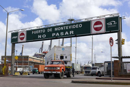 URUGUAY - SEPTEMBER 25: A loaded truck leaves Port on September 25, 2012 in Montevideo, Uruguay. It is one of the largest ports of South America and an important transit area for loads of Mercosur
