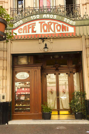restaurant exterior: Cafe Tortoni, in May avenue, Buenos Aires, Argentina. Caf� Tortoni is the oldest coffee most famous Buenos Aires. Editorial