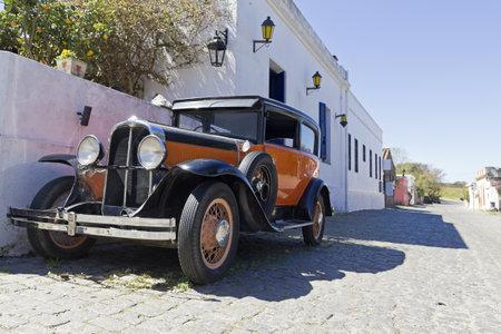 colonia del sacramento: vintage car in Colonia del Sacramento street. Colonial village in Silver River, Uruguay.