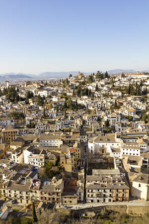 Overview of Granada. District of Albaicin with Sacromonte hill. Andalusia, Spain photo
