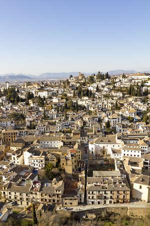 granada: Overview of Granada. District of Albaicin with Sacromonte hill. Andalusia, Spain