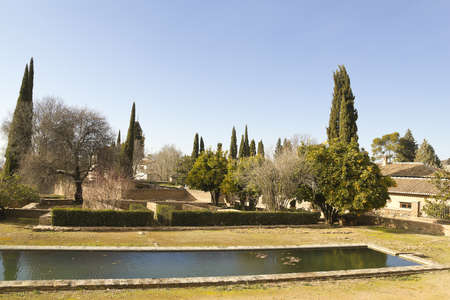The complex of the Alhambra, the gardens outside the palaces. Granada, Spain photo