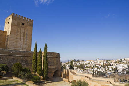 The Alcazaba of the Alhambra and the Albaicin district. Granada, Andalusia, Spain.