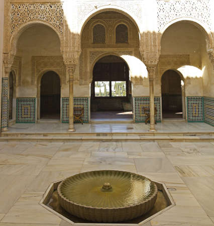 fourteenth: Detail of Nazaries palaces. Courtyard of Arrayanes. Fourteenth century. Alhambra, Granada, Spain Editorial