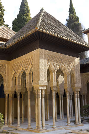 Courtyard of the Lions, one of the Nasrid Palaces of the Alhambra, Granada
