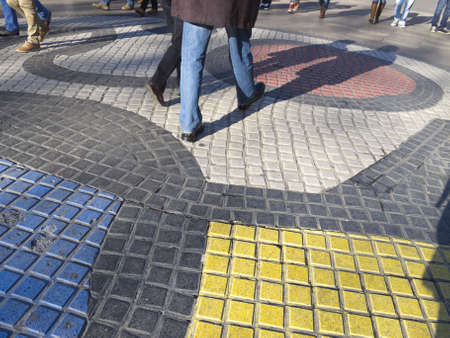 Miro mosaic in Ramblas of Barcelona.