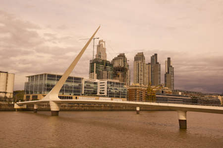 View of the old harbor area (Puerto Madero) by sunset, Buenos Aires, Argentina photo