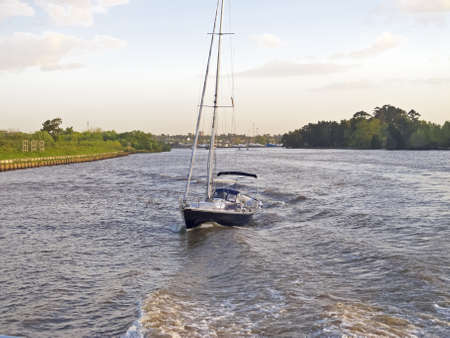 Navigating the River Plate, between Argentina and Uruguay. photo