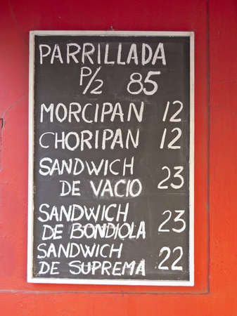 argentinean: Blackboard with typical Argentinean dishes of meat