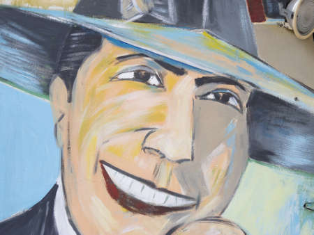 BUENOS AIRES - SEP 30: Tribute to Carlos Gardel on Sep 30, 2012 in San Telmo Market, Buenos Aires, Argentina. Carlos Gardel is the most famous tango singer of all time.