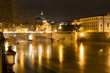 vittorio emanuele: Rome by night  Tiber river, Vittorio Emanuele bridge and Dome of St  Peter in the Vatican city
