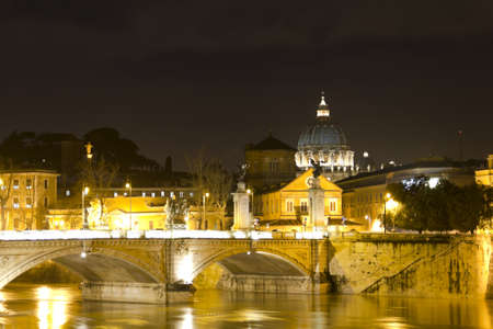 vittorio emanuele: Dome of St  Peter in the Vatican, Tiber river and Vittorio Emanuele bridge by night