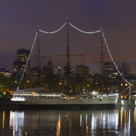 sarmiento: Ship by night in Buenos Aires  Argentina
