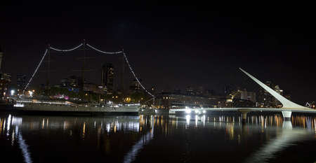 sarmiento: The maritime zone in Buenos Aires by night  Argentina