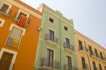 separatist: Balconies in Catalonia with the flag of independence  Figueres, Catalonia