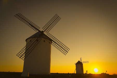 don quixote: Sunrise in Spain Campo de Criptana, Castile-La Mancha, Spain