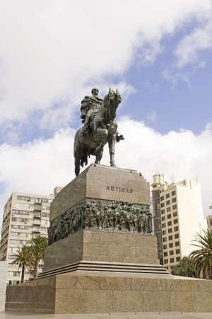 artigas: Equestrian statue of General Artigas in Plaza Independencia, Montevideo, Uruguay Stock Photo