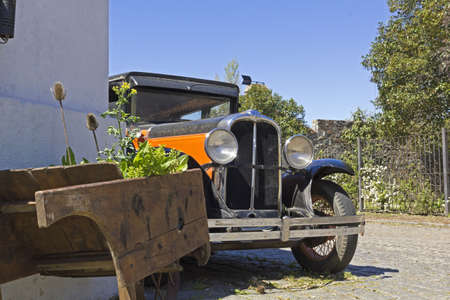vintage car in Colonia del Sacramento street  Colonial village in Silver River, Uruguay  photo