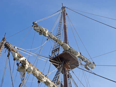 galley: detailed masts of old ships Stock Photo