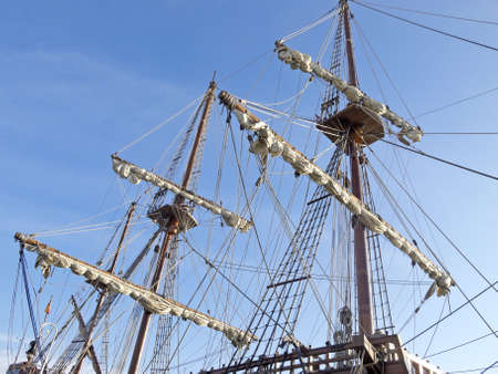 detailed masts of old ships photo