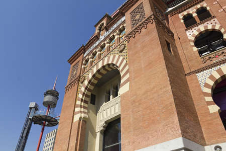 arenas: The Bullring Arenas on Spain Square, Barcelona, traditional architectural style neo-Mudejar  Catalonia, Spain