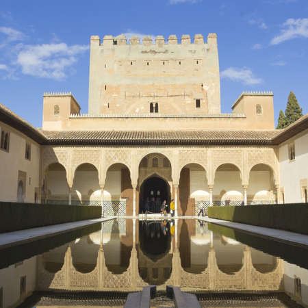 GRANADA, SPAIN - FEB 8  Tourists visit The Royal Complex of Alhambra on February 8, 2012 in Granada, Spain  The Alhambra is is a palace and fortress complex on the UNESCO World Heritage Site
