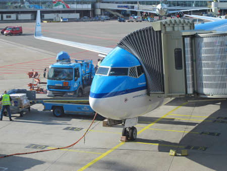 AMSTERDAM - OCT 6  KLM plane being loaded at Schiphol Airport on October 6, 2012 in Amsterdam, Netherlands  There are 163 destinations served by KLM, many are located in the Americas, Asia and Africa Stock Photo - 22056030