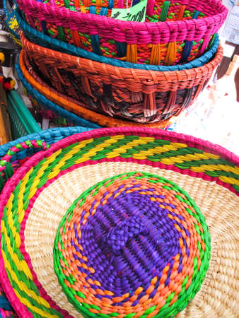 andean: Hats in a traditional Andean market products. Chile,