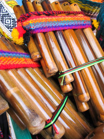 Andean flutes in a traditional product market. Chile, photo