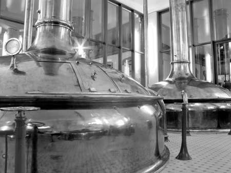 Antique Beer Factory  Old style of brewing beer  Monochrome photography   BARCELONA - NOVEMBER 29  Former brewery on November 29, 2012 in Barcelona  Damm brewery was founded in 1876, one of the oldest in Spain  Editorial