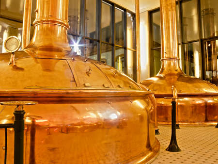 Antique Beer Factory  Old style of brewing beer   BARCELONA - NOVEMBER 29  Former brewery on November 29, 2012 in Barcelona  Damm brewery was founded in 1876, one of the oldest in Spain  Editorial