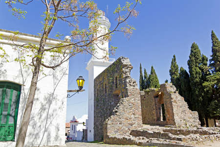 colonia del sacramento: Old street in Colonia del Sacramento, small colonial town, Uruguay   Stock Photo